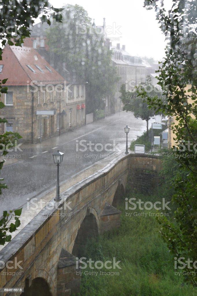 Bayreuth in heavy rain stock photo