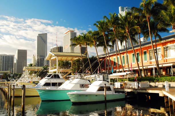 bayside marina, miami - zuidoost stockfoto's en -beelden