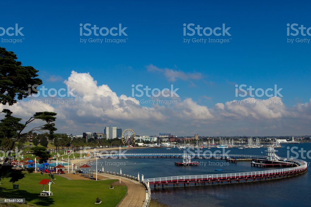 A bayside swimming pool enclosure stock photo