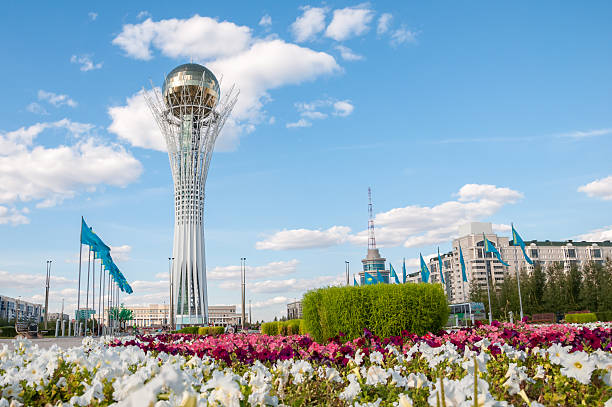 Bayterek is a monument and observation tower in Astana Kazakhstan Bayterek is a monument and observation tower in Astana Kazakhstan kazakhstan stock pictures, royalty-free photos & images