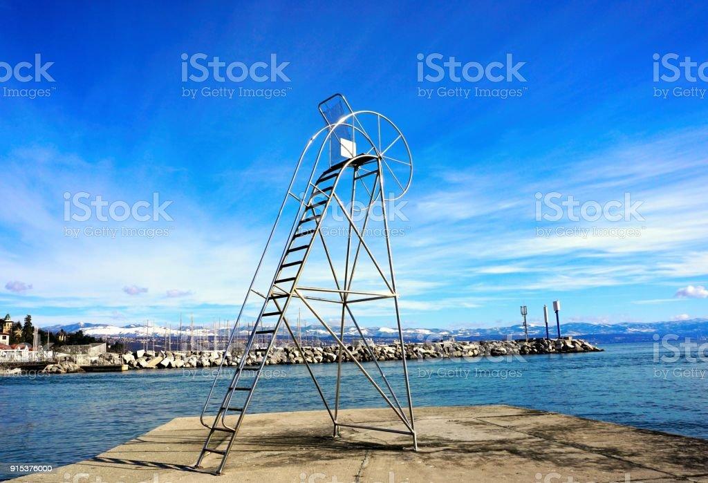 Baywatch tower empty chair on a beach in Croatia stock photo