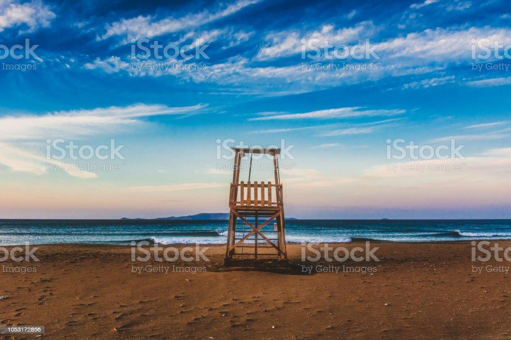 Baywatch tower stock photo