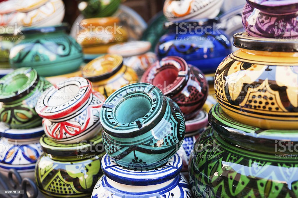 Bazaar Handicrafts in Marrakech Medina Morocco stock photo