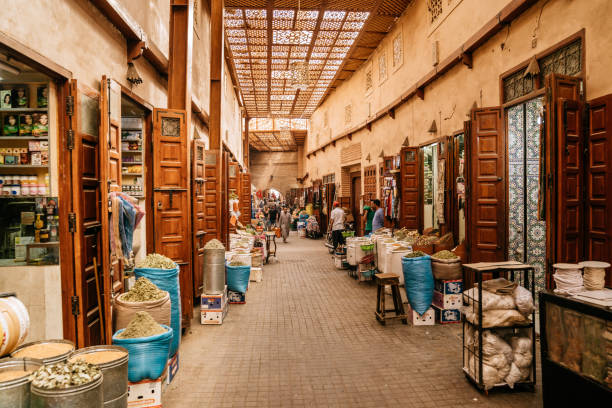 Bazaar in Marrakech old town (Medina). stock photo