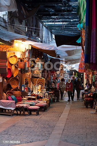 Rabat, Morocco - November 10, 2016: Colour photograph of people walking in a Medina/ market in Rabat, Morocco