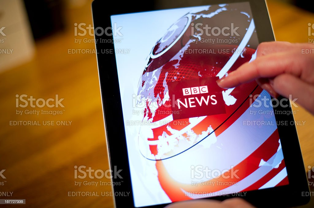 bbc news on iPad2 stock photo