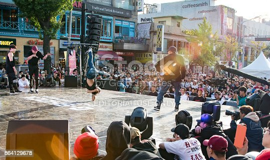 SeoulL,  South Korea  - October 15, 2017:Many peoples are watching B-boy break dances in Itaewon Global Village Festival 2017, Seoul.
