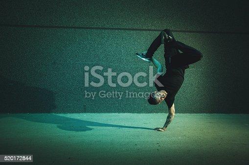 BBoy doing handstand on street