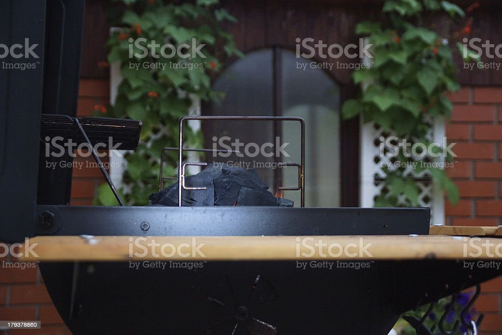 Bbq Grill and Burning Coal. royalty-free stock photo