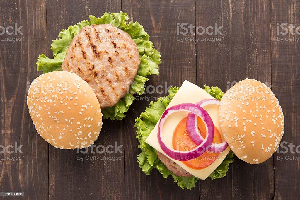 bbq hamburger on the wooden background stock photo