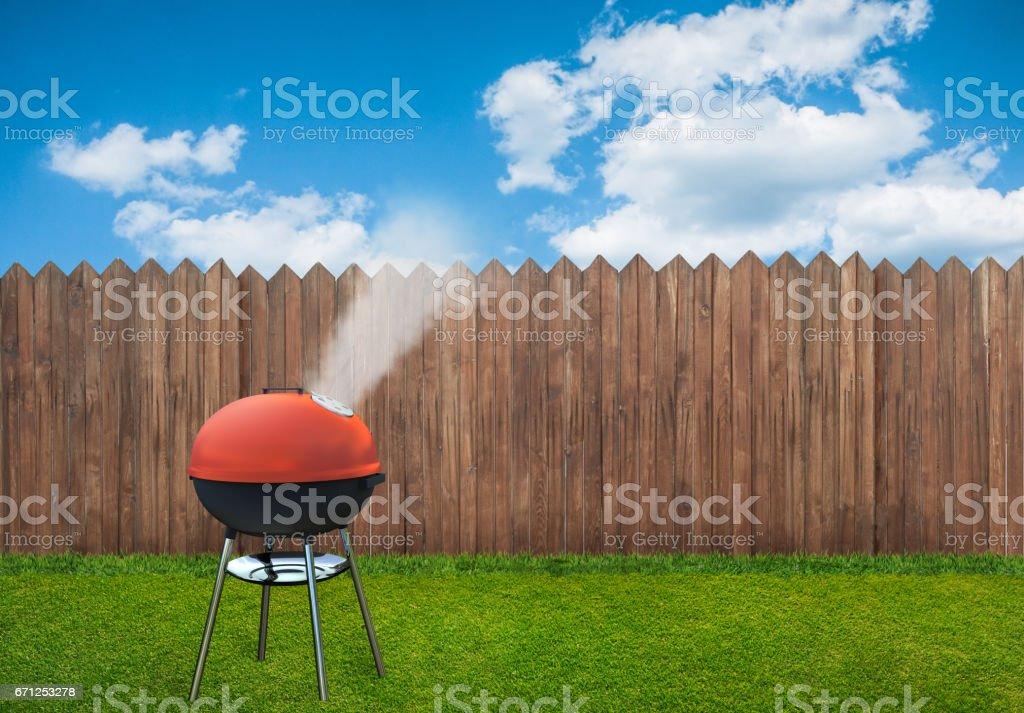 bbq picnic on backyard stock photo