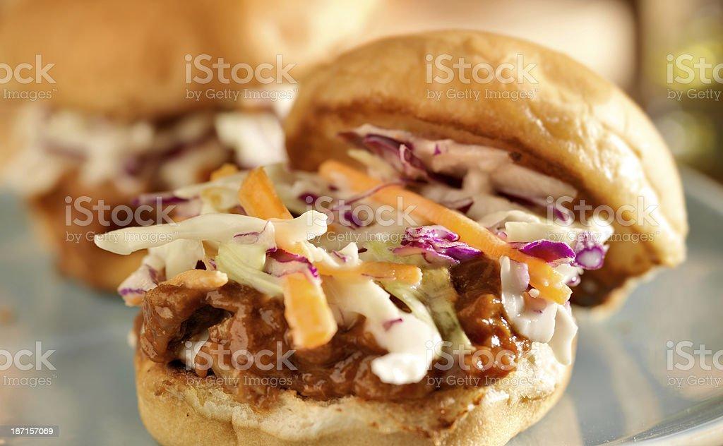 bbq pulled pork sandwich sliders stock photo