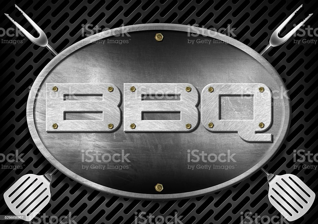 Bbq Signboard with Kitchen Utensils stock photo