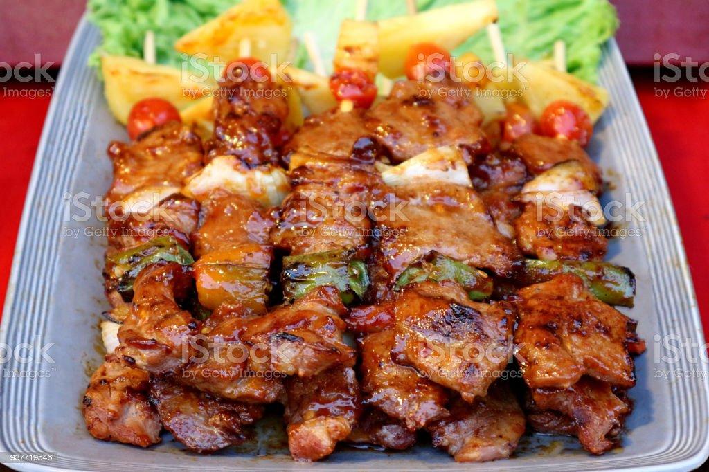 Barbacoa/Bar-B-Q/barbacoa - comida callejera de Tailandia - foto de stock