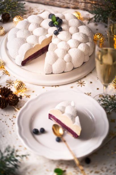 bûche de noël, ganache vanille, chocolat et mousse myrtille - französisches haus dekor stock-fotos und bilder