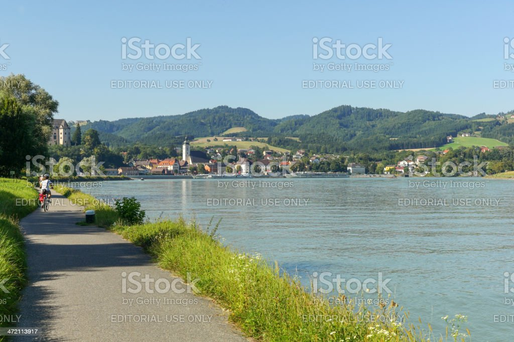 bcycle path to grein near danube river at austria stock photo
