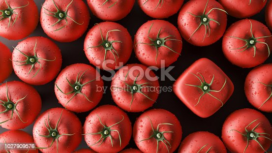 istock Be a different concept, cube tomatoes, 3d render 1027909576