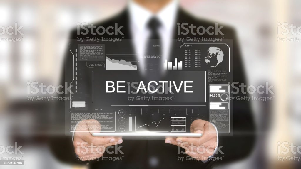 Be Active, Hologram Futuristic Interface, Augmented Virtual Reality stock photo