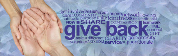 Be an Angel and Give Back female hands gently cupped around male cupped hands beside a GIVE BACK word cloud against a wide blue banner of random fluffy white feathers help single word stock pictures, royalty-free photos & images