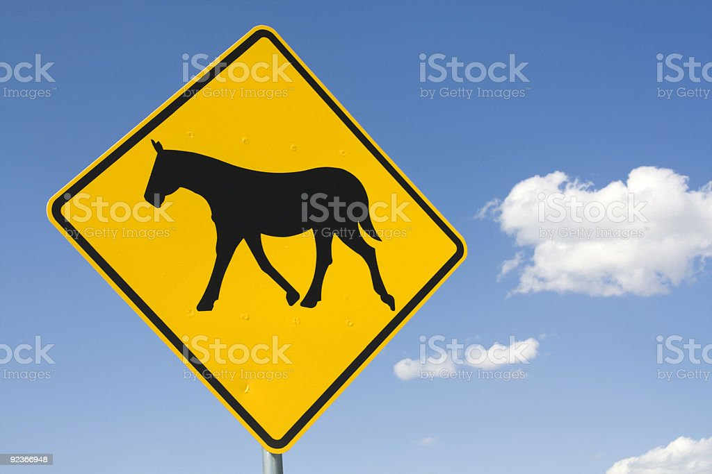 Be careful - horses on the road royalty-free stock photo