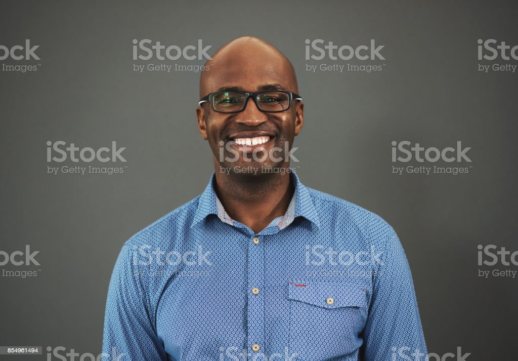Be confident and smile, it will help with your progress stock photo