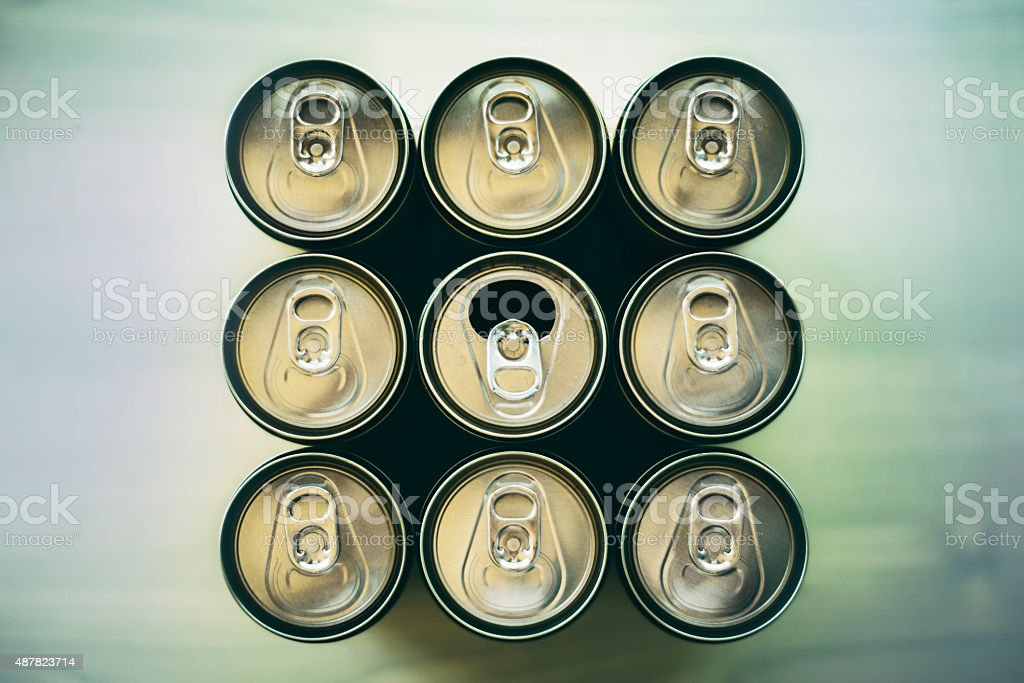 Be different - beverage cans stock photo