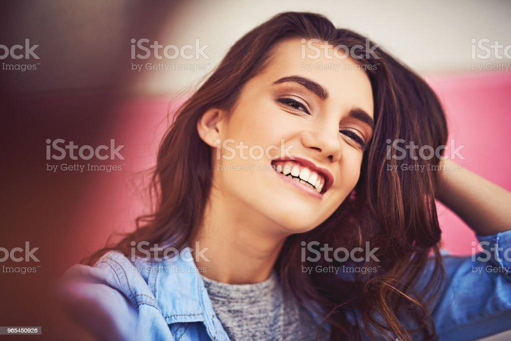 Be happy, smile for the selfie zbiór zdjęć royalty-free