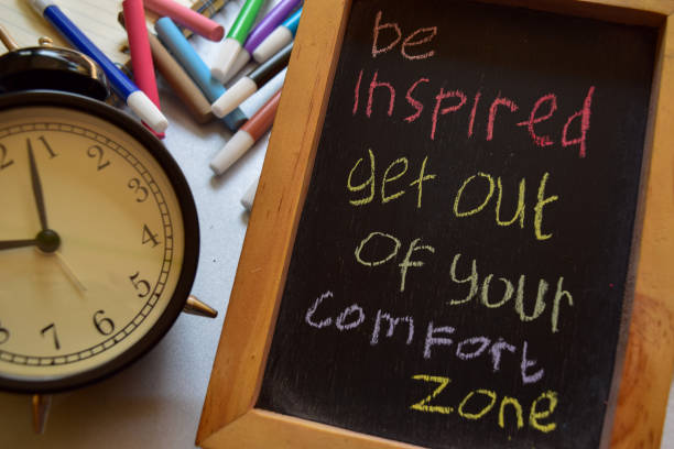 be inspired get out of your comfort zone be inspired get out of your comfort zone on phrase colorful handwritten on chalkboard, alarm clock with motivation and education concepts time zone stock pictures, royalty-free photos & images