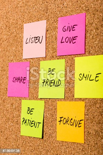 istock be kind, be friend chart on colorful sticky notes 813649138