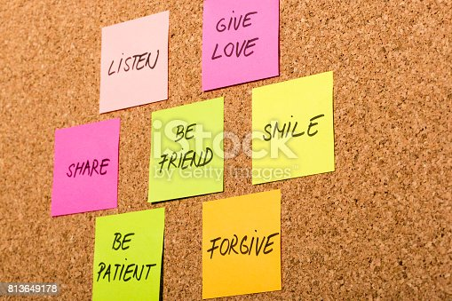 istock be kind, be friend chart on colorful sticky notes 813649178