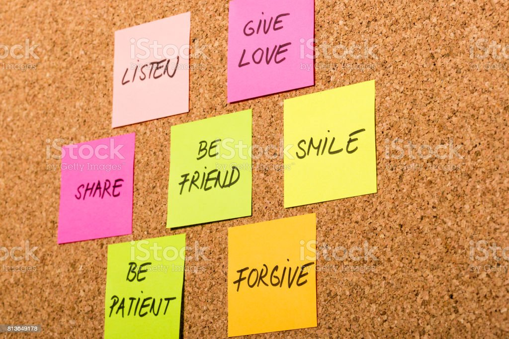be kind, be friend chart on colorful sticky notes stock photo