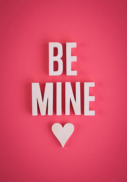 Be Mine sign lettering stock photo