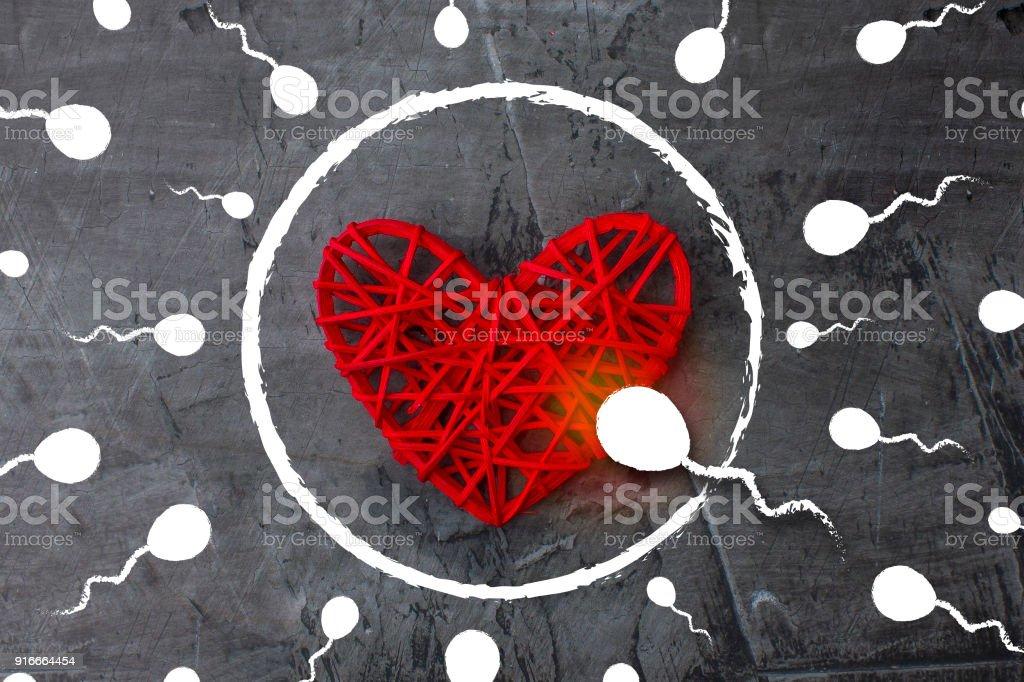 Ser el primero siempre y en todas partes. Espermatozoide a un huevo en forma de un corazón - foto de stock