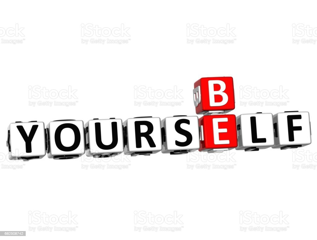 3D Be Yourself Crossword on white background royalty-free stock photo