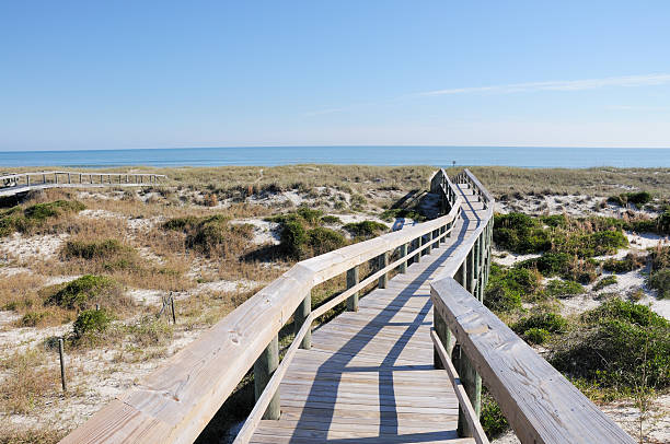 Beach Access Boardwalk Over Sand Dunes Amelia Island Florida stock photo