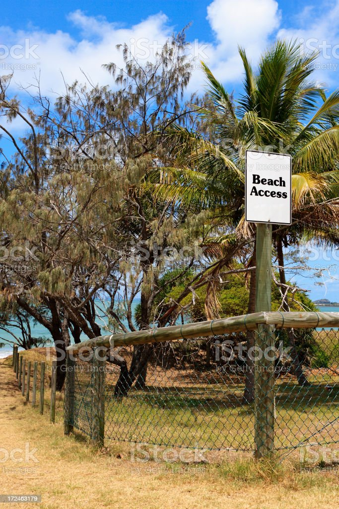 Beach Access Sign and Path royalty-free stock photo