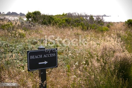 A sign directing pedestrians toward the beach.(SEE LIGHTBOXES BELOW for more beach and signage photos...)