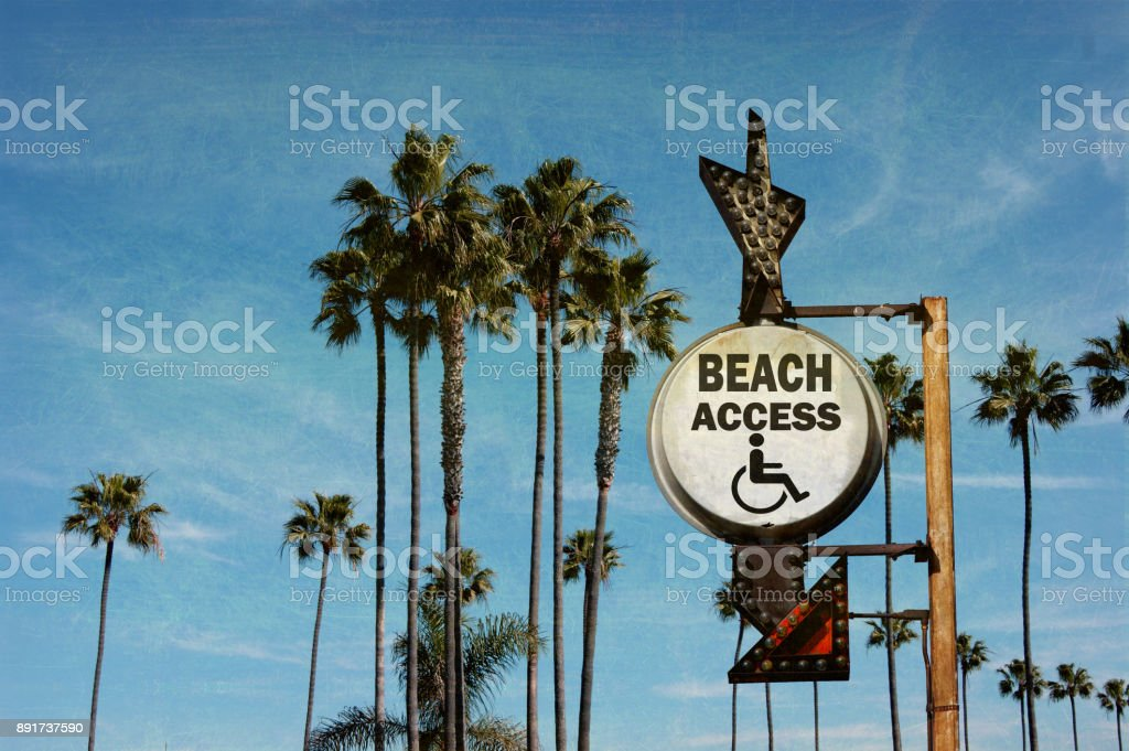 beach access sign stock photo