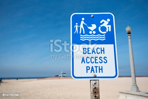 A sign on Venice Beach indicating acess to the beach