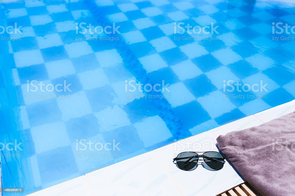 Beach Accessories By The Swimming Pool Stock Photo ...