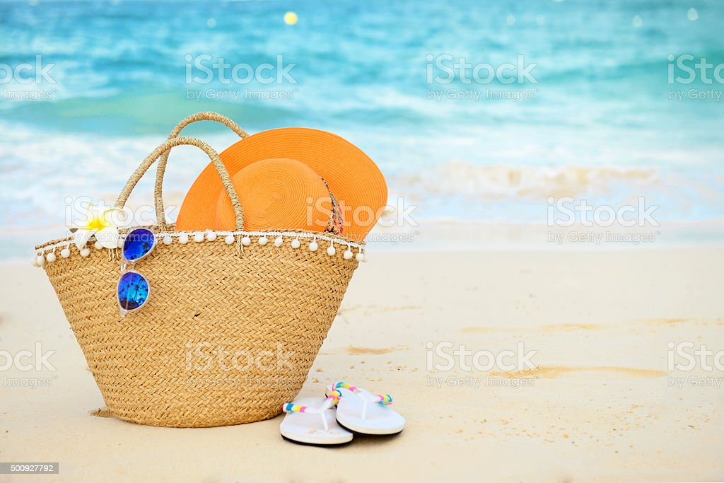 beach accessories close up stock photo