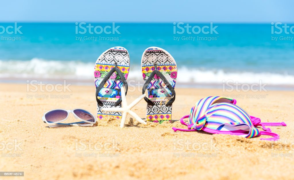 Beach accessories. Concept of summer vacations. royalty-free stock photo