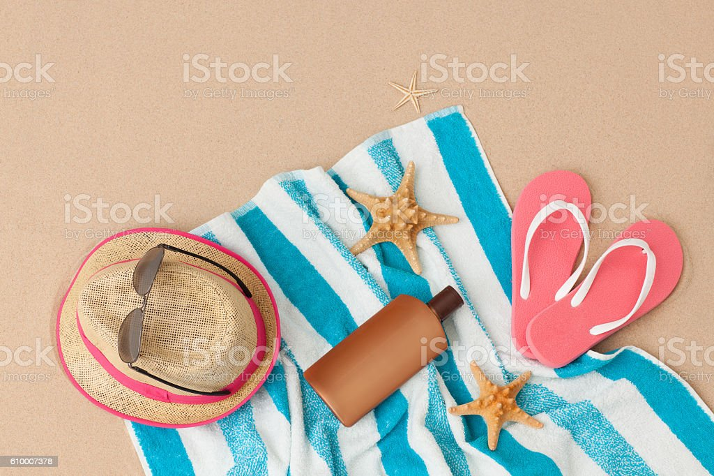 Beach accessories for perfect vacation! stock photo