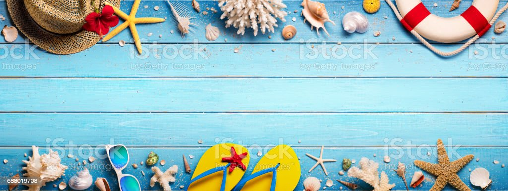Beach Accessories On Blue Plank stock photo