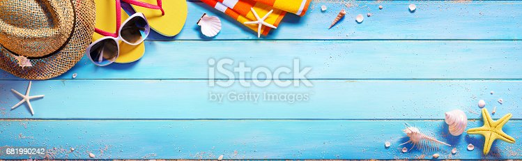 istock Beach Accessories On Blue Table - Summer Holiday 681990242