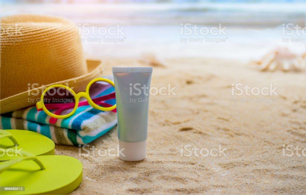 Beach Accessories On Table On Beach - Summer Holidays stock photo