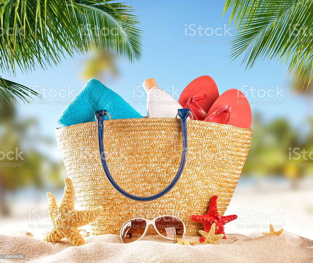 Beach accessories on tropical island stock photo