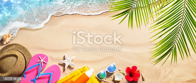 istock Beach Accessories On Tropical Sand And Seashore - Summer Vacations 1322518125