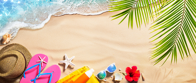 Beach Accessories On Tropical Sand And Seashore - Summer Vacations
