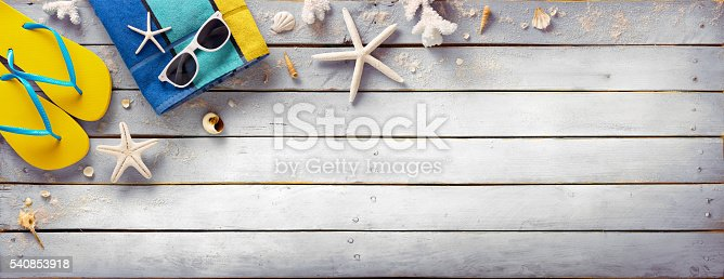 istock Beach Accessories On Vintage Wooden Plank - Retro Summer Holiday 540853918